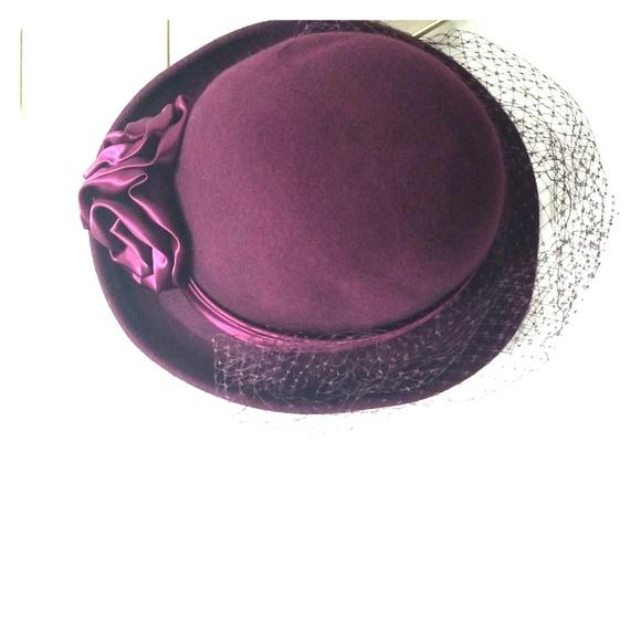 Vintage michael Howard wool hat plum purple lace. M 5c3aa85f3c9844cc7117ef29 254ef16b771